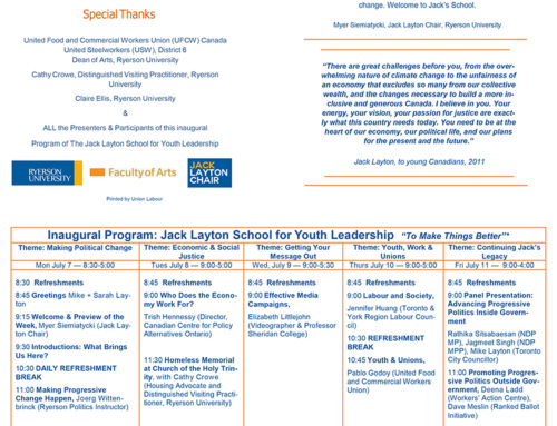 Jack Layton School for Youth Leadership Inaugural Program