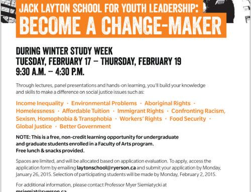 Jack Layton's School for Youth Leadership