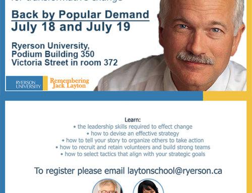 By Popular Demand – Jack Layton Summer Leadership School 2015